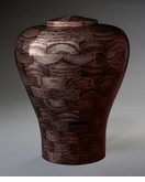 Large Lily Black Wood Cremation Urn