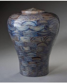 Large Lily Blue Wood Cremation Urn