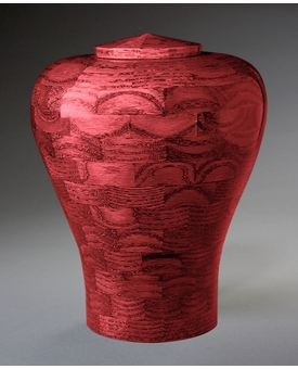Large Lily Pink Wood Cremation Urn