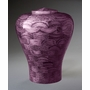 Large Lily Purple Wood Cremation Urn