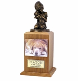 Large My Best Dog Ever Photo Oak Wood Pet Cremation Urn