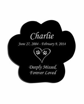 Large Paw Print Laser-Engraved Plaque Black Granite Memorial
