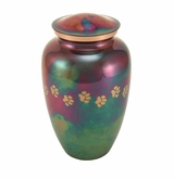 Large Paw Prints Classic Raku Pet Cremation Urn - Engravable