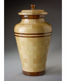 Large Peace Maple and Black Walnut Wood Cremation Urn