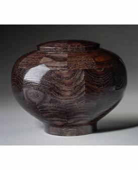 Large Peony Black Wood Cremation Urn