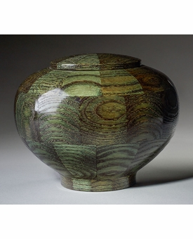 Large Peony Green Wood Cremation Urn