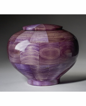 Large Peony Purple Wood Cremation Urn