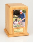 Large Photo Tower Oak Wood Pet Cremation Urn