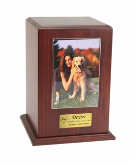 Large Photo Tower Walnut Wood Pet Cremation Urn