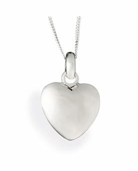 Large Puff Heart Polished Sterling Silver Cremation Necklace Pendant