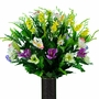 Large Purple Yellow Spring Wildflower Mix Silk Flowers for Cemeteries