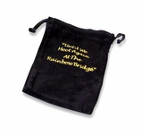 Large Rainbow Bridge Black Velvet Pet Cremains Bag For Ashes