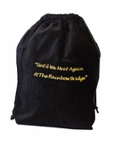 Large Rainbow Bridge Black Velvet Pet Cremation Urn Bag
