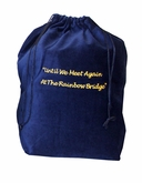 Large Rainbow Bridge Blue Velvet Pet Cremation Urn Bag