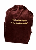 Large Rainbow Bridge Burgundy Velvet Pet Cremation Urn Bag