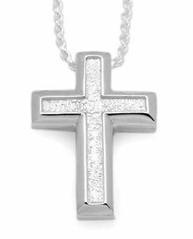 Large Sand Textured Cross Sterling Silver Cremation Jewelry Pendant Necklace