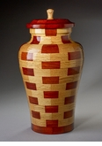 Large Serenity Oak and Padauk Wood Cremation Urn