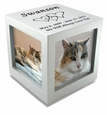 Large Silver Photo Cube Pet Cremation Urn