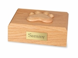 Large Traditional Paw Print Oak Wood Pet Cremation Urn