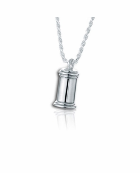 Large Traditional Sterling Silver Cremation Jewelry Pendant Necklace