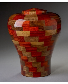 Large Tranquility Black Walnut and Padauk Wood Cremation Urn