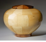 Large Truth Maple and Black Walnut Wood Cremation Urn