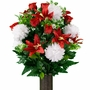 Large White Mum and Red Lily Silk Flowers for Cemeteries