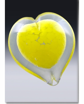 Large Yellow Boundless Heart Cremains Encased in Glass Keepsake Cremation Urn