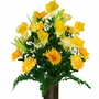 Large Yellow Peony Calla Lily Mix Silk Flowers for Cemeteries