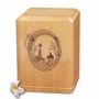 Lariat and Cowboy Classic Maple Wood Cremation Urn