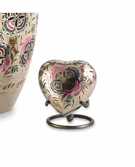 Lattice Floral Heart Brass Keepsake Cremation Urn