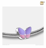Lavender Enamel Wings of Hope Rhodium Plated Sterling Silver Cremation Jewelry Bead