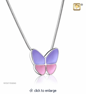 Lavender Enamel Wings of Hope Rhodium Plated Sterling Silver Cremation Jewelry Pendant Necklace