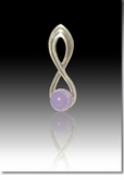 Lavender Harmony Cremains Encased in Glass Sterling Silver Cremation Jewelry Pendant