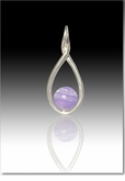 Lavender Melody Twist Cremains Encased in Glass Sterling Silver Cremation Jewelry Pendant
