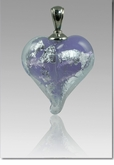 Lavender Silver Precious Metal Heart Cremains Encased in Glass Cremation Jewelry Pendant