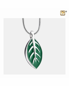 Leaf Enamel Sterling Silver Cremation Jewelry Pendant Necklace