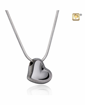 Leaning Heart Two Tone Black Ruthenium Plated Sterling Silver Cremation Jewelry Pendant Necklace