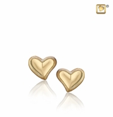Leaning Heart Two Tone Gold Vermeil Memorial Jewelry Stud Earrings