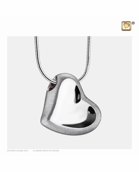 Leaning Heart Two Tone Rhodium Plated Sterling Silver Cremation Jewelry Pendant Necklace
