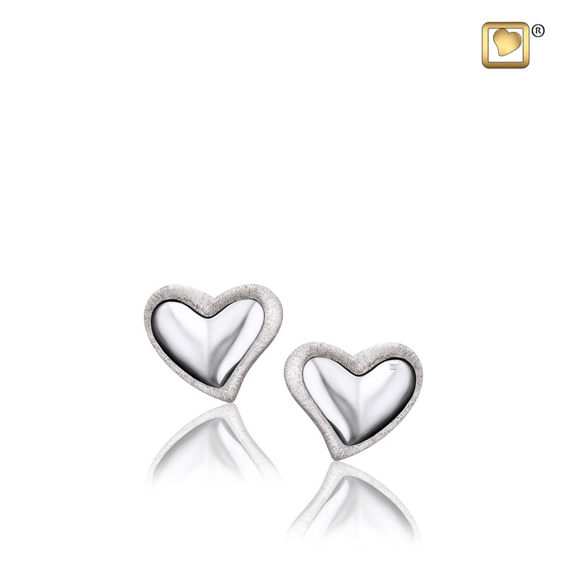 Leaning Heart Two Tone Rhodium Sterling Memorial Jewelry..