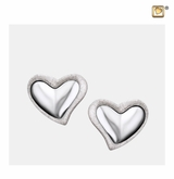 Leaning Heart Two Tone Rhodium Plated Sterling Silver Memorial Jewelry Stud Earrings