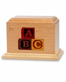 Letter Blocks - Wood Infant Cremation Urn - Engravable