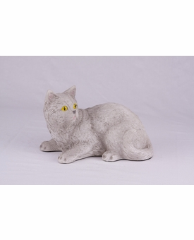 Light Gray Shorthair Cat Hollow Figurine Pet Cremation Urn - 2704