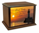Lighthouse at Sunset Eternal Reflections Wood Cremation Urn - 3 Sizes