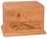 Lighthouse Cherry Wood Newport Laser Carved Cremation Urn