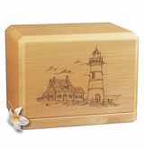 Lighthouse Classic Maple Wood Cremation Urn