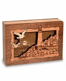 Lighthouse Dimensional Wood Keepsake Cremation Urn - Engravable