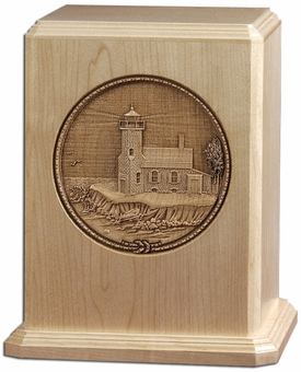 Lighthouse Laser Carved Maple Wood Cremation Urn