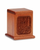 Lighthouse Mahogany Keepsake Cremation Urn - Engravable